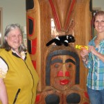 Miss W, Davo and Jaki at Queneesh totem pole